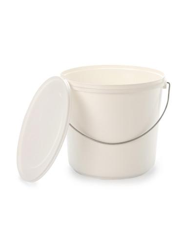 Kibiras 10L baltas hermetiniu dangčiu, su metaline rankena, maisto produktams
