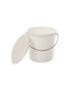 Kibiras 7L baltas hermetiniu dangčiu, su metaline rankena, maisto produktams