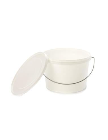 Kibiras 5L baltas hermetiniu dangčiu, su metaline rankena, maisto produktams