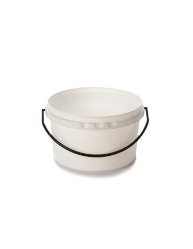 Kibiras 2L baltas hermetiniu dangčiu, su plastmasine rankena, maisto produktams