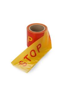 Signalinė aptvėrimo įspėjamoji juosta su užrašu STOP [100m]