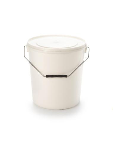 Kibiras 20L baltas hermetiniu dangčiu, su metaline rankena, maisto produktams