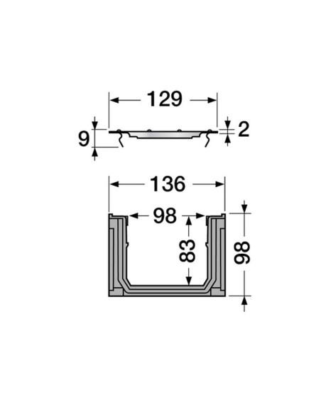 Grindinio latakas (kanalas) Nicoll DRP178 su cinkuoto plieno grotelėmis [1m]
