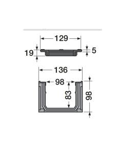 Grindinio latakas (kanalas) Nicoll CAL10BF su ketaus grotelėmis [1m]