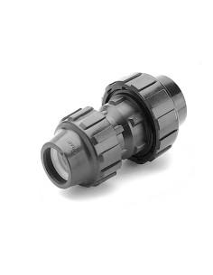 Mova su perėjimu - redukcinis perėjimas PE vandentiekio vamzdžio 63x50mm PP užveržiama