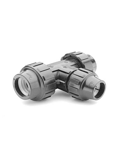 Redukcinis trišakis su perėjimu PE vandentiekio vamzdžio 63x50x63mm PP užveržiama