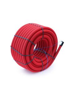 Vamzdis techninis 50mm gofruotas/lygus, raudonas, ilgis 50m