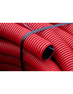 Vamzdis techninis 40mm gofruotas/lygus, raudonas, ilgis 50m