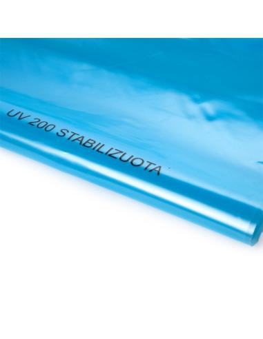 Stabilizuota mėlyna polietileno plėvelė, plotis 6m, storis 200