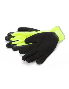 Pirštinės megztos pašiltintos aplietos lateksu, žalia/juoda, dydis 10