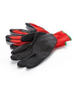 Pirštinės trikotažinės aplietos lateksu, raudona/juoda, dydis 11