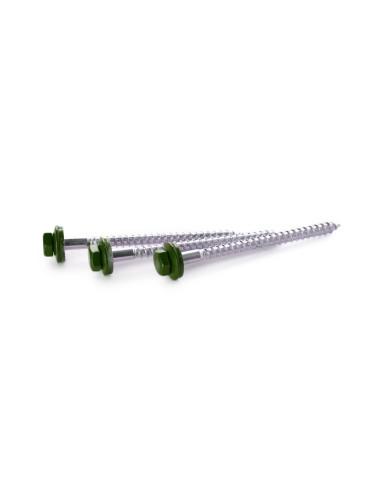 Varžtai Žalia su gumine tarpine, 6x80mm, cinkuoti
