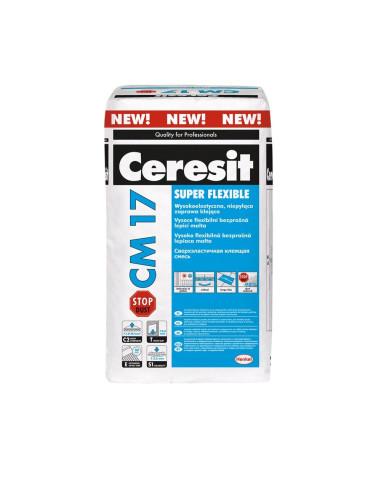 Klijai ypač elastingi, nedulkantys plytelių CM17 Stop Dust Ceresit 25 kg