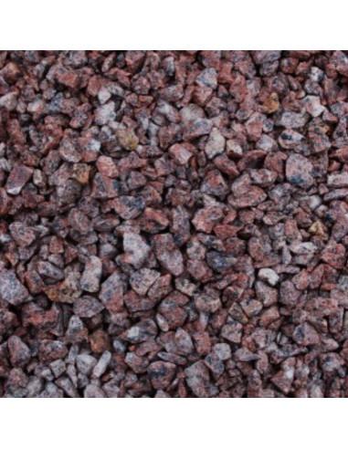 Raudona marga ( taškuota ) granito skalda 10-20mm (maišas 20kg)