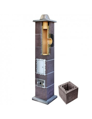 Kamino komplektas be ventiliacinio kanalo, diametras 180mm, aukštis 6.0m, LEIER