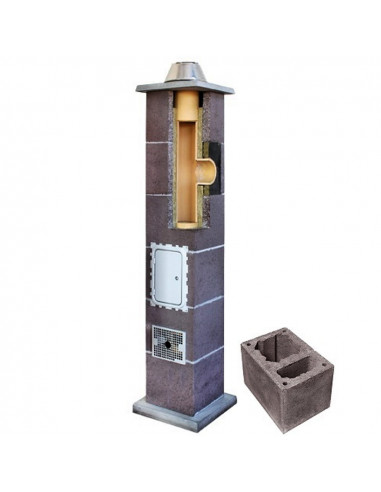 Kamino komplektas su ventiliaciniu kanalu, diametras 180mm, aukštis 4.0m, LEIER