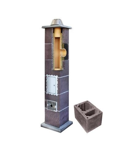 Kamino komplektas su ventiliaciniu kanalu, diametras 200mm, aukštis 8m, LEIER