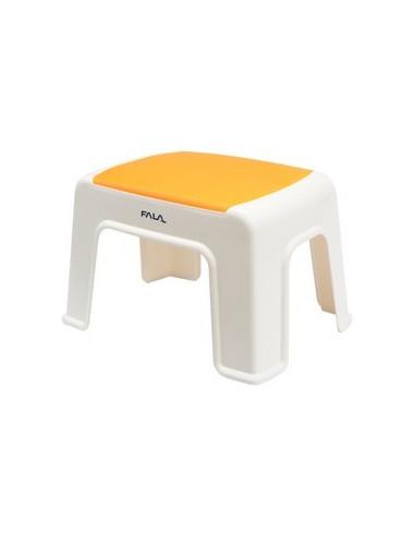 Kėdutė plastmasinė balta-oranžinė