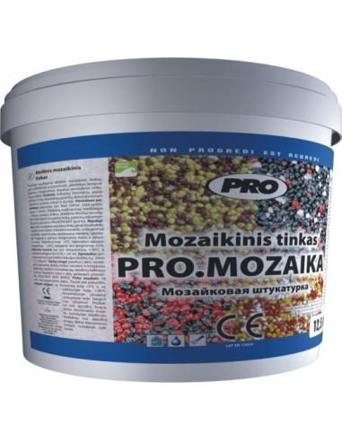Akrilinis mozaikinis tinkas PRO.MOZAIKA M 12,5kg, vidutiniai akmenukai, pasirenkama spalva