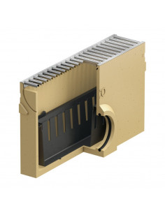 Polimerbetonio įtekėjimo dėžė su nešvarumų indu ACO Euroline su cinkuotomis grotelėmis [0,5m] 38703