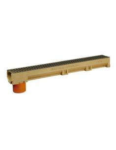 Polimerbetonio latakas (kanalas) ir įmontuotu PVC vamzdžiu su ketaus grotelėmis ACO [1m]
