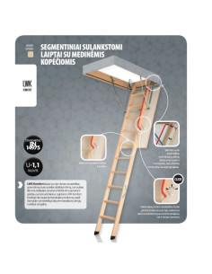 Segmentiniai sulankstomi laiptai su medinėmis kopėčiomis LWK Komfort 55x111cm, h 280cm FAKRO