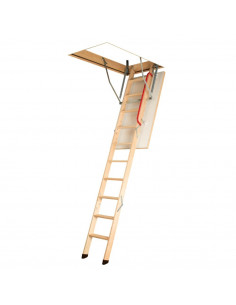 Segmentiniai sulankstomi laiptai su medinėmis kopėčiomis LWK Komfort 70x100cm, h 280cm FAKRO