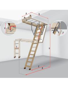 Segmentiniai sulankstomi laiptai su medinėmis kopėčiomis LTK Energy 55x100cm, h 280cm FAKRO