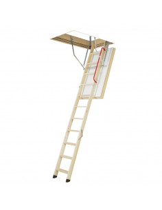 Segmentiniai sulankstomi laiptai su medinėmis kopėčiomis LWT 70x130cm, h 280cm FAKRO