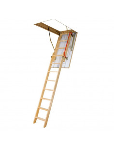 Segmentiniai sulankstomi laiptai su medinėmis kopėčiomis LDK 60x120cm, h 280cm FAKRO