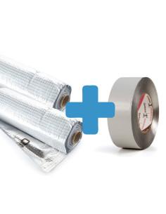 Rinkinys - Garo izoliacinė plėvelės su aliuminio sluoksniu 2 rulonai + klijavimo aliuminė juosta 100 metrų