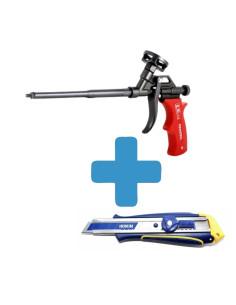 Rinkinys - Pistoletas montažinėms putoms PENOSIL S1 ir Peilis IRWIN Professional