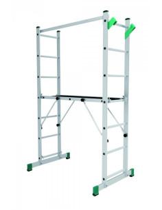 Kopėčios-darbinė aikštelė aliuminė, 2 dalių EUROSTYL, 2x7 pakopų, platforma 34/104cm