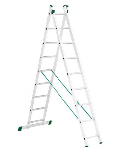 Kopėčios aliuminės, universalios, dvipusės, ištraukiamos (laiptams) 2 dalių EUROSTYL, 2x7 pakopų, 201-314cm