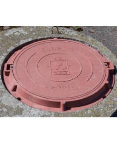 Dangtis su rėmu kanalizacijos šuliniui 760/55mm, spalva Raudona,  su užraktais, kompozitinis