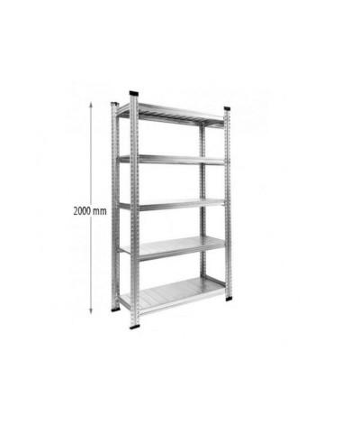 Stelažas - lentyna sandėliavimui, aukštis 200cm, gylis 32cm, ilgis 105cm (5 lentynos), cinkuoto plieno