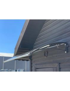 Stogelis virš durų, su lataku, 150 x 82cm, rudas rėmas, rusvas polikarbonatas