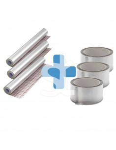 Rinkinys - Aliuminizuota betonavimo plėvelė šildomoms grindims 3 rul. (150m2) ir klijavimo juosta aliuminizuota 3 rul.