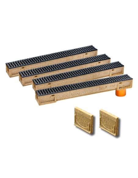 Rinkinys - Polimerbetonio latakai (kanalai) SELF 100 su ketaus grotelėmis ANRIN - 4 metrai su pajungimu ir galinės sienutėmis