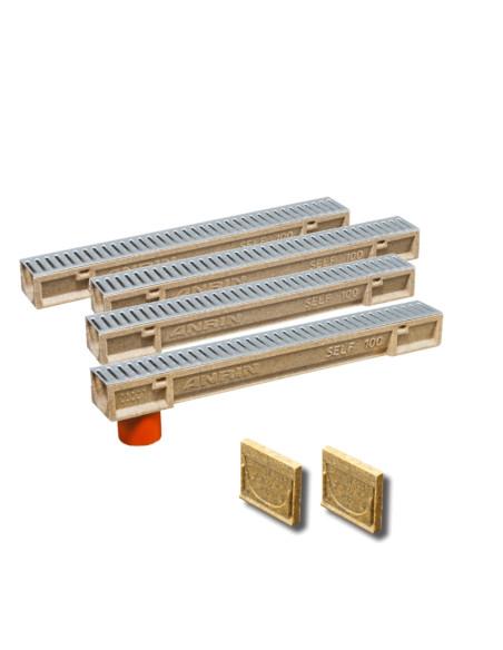 Rinkinys - Polimerbetonio latakai (kanalai) SELF 100 su cinkuotomis grotelėmis ANRIN - 4 metrai su pajungimu ir galais