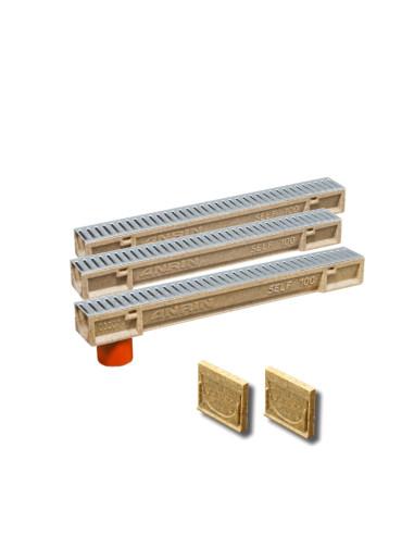 Rinkinys - Polimerbetonio latakai (kanalai) SELF 100 su cinkuotomis grotelėmis ANRIN - 3 metrai su pajungimu ir galais