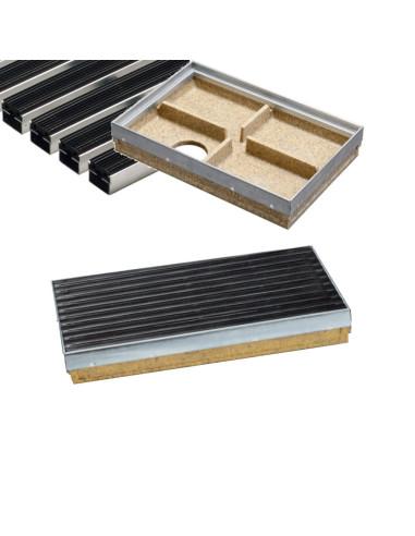 Rinkinys - Batų valymo vonelė su cinkuoto plieno briauna + guminių juostelių kilimėlis, 60 x 40 cm, ANRIN