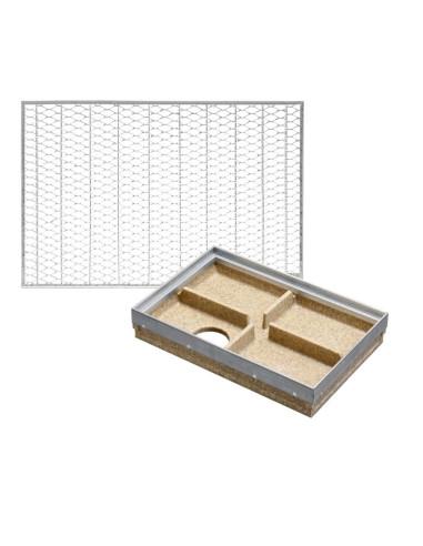 Rinkinys - Batų valymo vonelė su plieno briauna + cinkuoto plieno korėtos grotelės, 60 x 40 cm, ANRIN