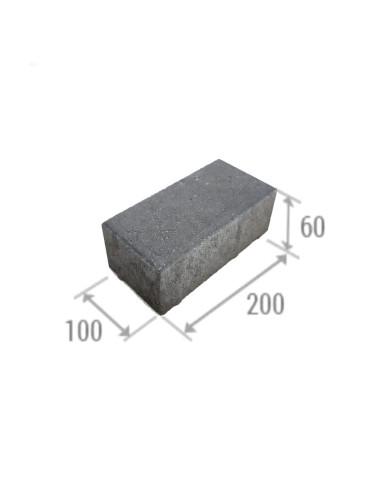 Betoninė grindinio trinkelė Brikers Prizma 6 (200x100x60mm), pilkos spalvos