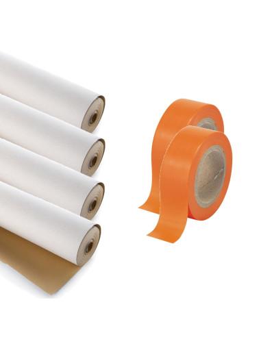 Rinkinys - Grindų uždengimo apsauginis kartonas 280g (pastorintas) 4 rulonai po 30m2 ir klijavimo PVC juosta 50mm 50m 2 ritiniai